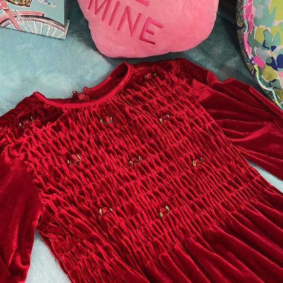 Children's Place stretchy red velvet dress